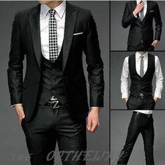 Mandarin Collar Suits for Men | Black Peak Lapel Single-breasted ...