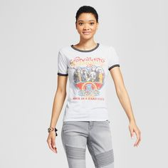 Women's Aerosmith Graphic Ringer T-Shirt White L - Live Nation (Juniors')