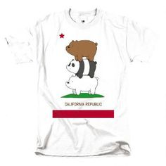 The only way these guys get around is the bear stack. This We Bare Bears t-shirt features the San Francisco hipsters Grizzly, Panda, and Ice Bear in a bear stack.