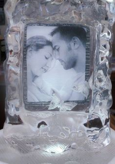 picture frame table center  ice sculpture... Photo by 'images by nica'
