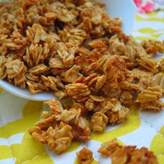 Peanut Butter Granola - simple and easy w/only 5 ingredients: 1 cup oats, 2 tblsp each peanut butter and honey, 1/4 tsp each cinnamon and vanilla. Combine PB  & honey in bowl & microwave abt 20 sec. till melted, then stir; add cinnamon, vanilla, then oats, & mix thoroughly. Spread on sprayed cookie sheet & bake at 325 for 7-8 min. until slightly browned. Let cool till crunchy... a healthy snack!