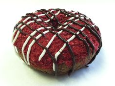Get a Raspberry Roadrash.  Freeze-dried raspberries, chocolate and vanilla skid marks make this chocolate cake donut irresistible. Copyright Psycho Donuts, All Rights Reserved.