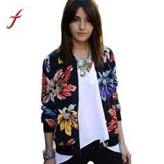5e8f34a736f Feitong Fashion Autumn Women Basic Coat female Long Sleeve Floral Print  Zipper Baseball Jacket Coat Outwear Casaco Feminino 2017