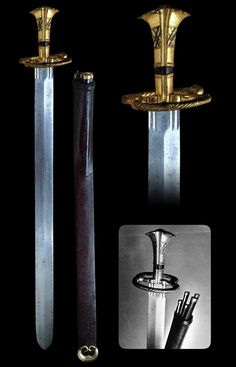 "Katzbalger and Scabbard, German, circa 1515  Straight, double-edged and wide blade with blunt tip. The robust all-metal grip expands into a mushroom-shaped end, forming the pommel. The characteristic cross-guard consists of two strong iron rods which are bent in the shape of a horizontally-curved 'S'. The weapon traditionally was carried high on the belt. Scabbard has pockets for a set of by-knives and prickers.  Overall length: 88.5 cm (34.8"")  Copyright © 1999 AVENTINUM NAKLADATELSTVÍ…"