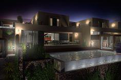 Vista 3D nocturna de la Villa Tipo de 2 plantas.  #3d #architecture3d #artlantis #Archicad #model3d #design3d #render #rendering #3dmodel #3ddesign #renderings #Photoshop