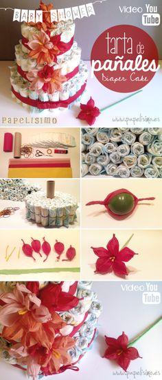 Tarta de pañales decorada con flores de papel | http://papelisimo.es/tarta-de-panales-decorada-con-flores-de-papel/