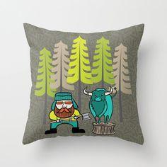 Lumberjack Pillow Cover Woodland Winter Decor by JoyfulRoots, $32.00