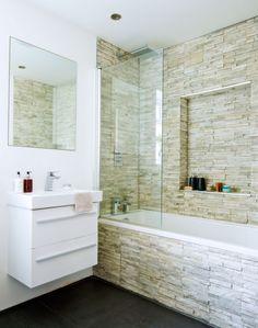 Modern Bathroom with Textured Stone Tiles