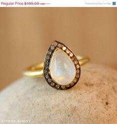 Valentines Day SALE Gold Rainbow Moonstone Teardrop Ring by OhKuol, $165.75