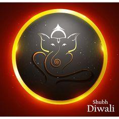 Vector abstract glowing hindi lord Ganesha Logo in Orange circle illustration Shubh Diwali greeting Card