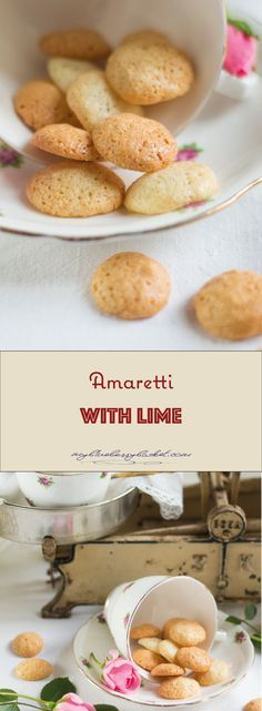 Amaretti with lime are small Italian cookies, similar to macarons. This delicious recipe includes the grated zest of a lime for extra flavor.