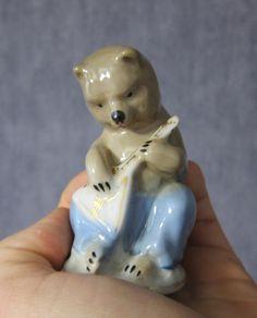 Vintage USSR Porcelain Figurine bear balalaika gorodnitsa soviet 1950-60