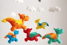 Handmade felt dragon crib mobile on Etsy from Wonderfeltland