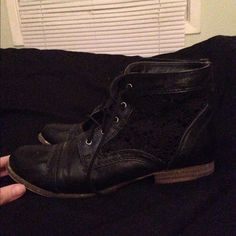 Black booties with lace! Black booties with lace on the side. Worn as in pictures  but in good condition!  Dsw Shoes Ankle Boots & Booties