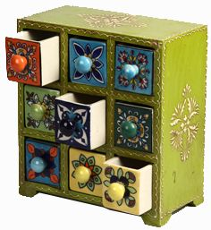 Painted Ceramic Drawer Spice Chest