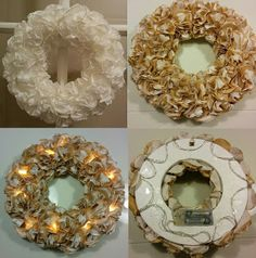 Handmade by HeidiH Christmas Wreaths, Christmas Gifts, Christmas Decorations, Xmas, Holiday Decor, Diy And Crafts, Paper Crafts, Fairy Lights, Burlap Wreath