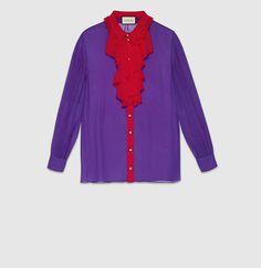 Gucci - シルク ボタンダウンシャツ 417405ZGZ725616