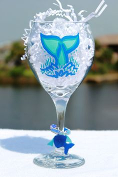Hand Painted Gulf Breeze Dolphins Wine Glass w by DesignsByErinG, $15.00