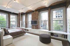 NoHo loft apartment. Modern decor. Exposed brick walls. NYC apartment, New York apartment, Manhattan apartment, ny apt, city living.