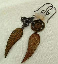 Take These Broken Wings Assymetrical  salvaged pewter, tin. Rusted tin wings, peach gemstones assemblage earrings by Vintajia Adornments