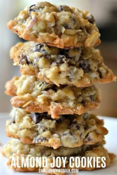 Almond Joy Cookies, Coconut Chocolate Chip Cookies, Sugar Cookies Recipe, Yummy Cookies, Brownie Cookies, Chocolate Chips, Köstliche Desserts, Delicious Desserts, Dessert Recipes