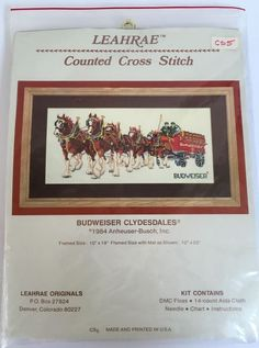 Vintage Budweiser Clydesdales 10 x 19 Cross Stitch Complete Kit Man Cave Beer 1980s