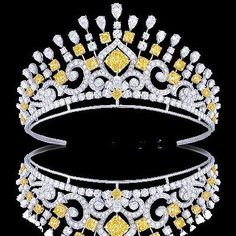 Graff Tiara made with radiant round and pear shape yellow and white diamonds.