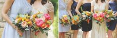 Gorgeous bride and bridesmaids bouquets in   fun spring colors, coral peony, juliette garden rose, succulents and pin cushion protea. Bouquets of Austin|Barbara's Brides|Diana Lott Photography|Nature's Point Event Center