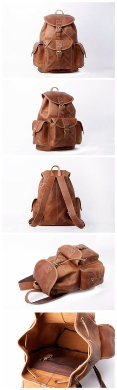 HANDMADE VINTAGE LEATHER BACKPACK COLLEGE BACKPACK SCHOOL BACKPACK