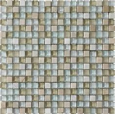 This glass and stone medley mosaic is a beautiful addition to any backsplash or shower with its rich tones and modern charm. LFS square medley samples available in store