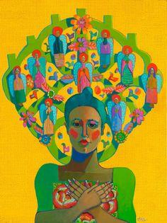 "Kathy Sosa- Oil on Canvas  ""Angelitos On My Mind""  Trees of Life Series"
