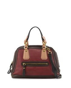Kendal Pebbled Leather Satchel Bag, Cabernet by Oryany at Neiman Marcus.