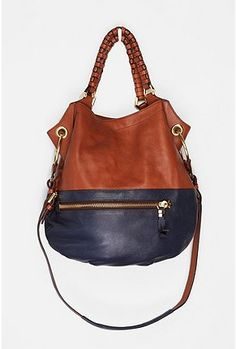 Leather bag, navy and neutral