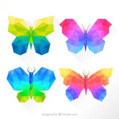 Colorful butterflies in geometric style Free Vector