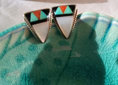 Earrings Turquoise Mother Of Pearl Onyx Sterling Silver