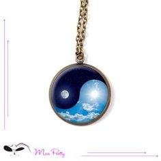 YIN YANG NIGHT AND DAY - cabochon necklace - collier cabochon. Cabochons :: brass :: laiton :: glass :: verre :: retro :: vintage :: necklaces :: sautoirs :: zen