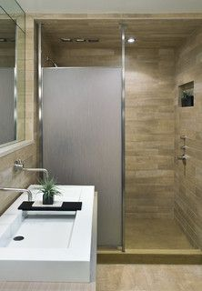 Contemporary Doorless Shower Design Is A Good Opaque Separater That Take Up Much Space With Decorating