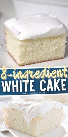 Homemade White Cakes, Homemade Vanilla Cake, Easy Vanilla Cake Recipe, Homemade White Cake Recipe Moist, Healthy White Cake Recipe, Bakery White Cake Recipe, Vinalla Cake Recipe, Simple White Cake Recipe, White Cake Recipe With Oil
