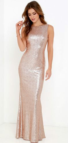 Amazing rose gold sequin gown for bridesmaids or for a formal dress. Matte Gold Sequin Dress from Lulus.