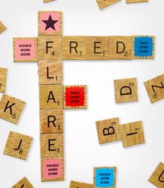 scrabble fridge magnets from fredflare.com..thought of you @Laurie Stamas
