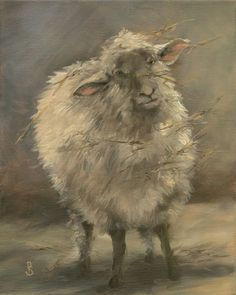 "Curious Look, Wooly Sheep 8"" x 10"" original oil painting gallery wrapped canvas With all his messy straw hanging from his coat..."