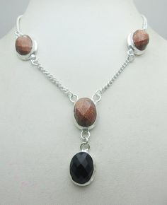 Silver Tone Metal Faceted Sun Star Stone Gemstone Necklace Jewelry Fine Quality NK_218 28 GM ready to ship