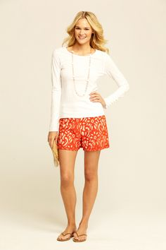 Coral Lace Shorts with brown leather flip flops - so effortless.