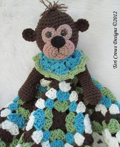 Crochet Pattern Monkey Huggy Blanket by Teri Crews by WoolandWhims, $4.95