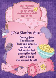 Sleepover pink slumber party themed birthday invitation & thank you card by Night Owl Custom Design, $15.00