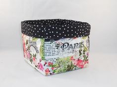 Paris Themed Fabric Basket For Storage Or Gift by wildfleurdelis