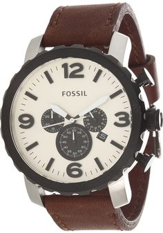 Fossil JR1390 Nate Leather Watch - Brown < $89.00 > Fossil Watch Men