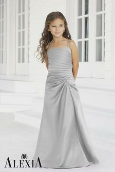 silver junior bridesmaid dresses | Junior Bridesmaids. I don't like the colour but the style is cute