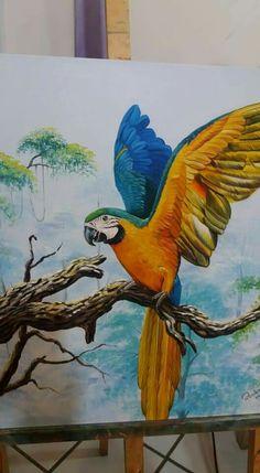 Easy Dragon Drawings, Bird Drawings, Cool Art Drawings, Canvas Painting Designs, Acrylic Painting Canvas, Abstract Canvas, Blue Bird Art, Acrilic Paintings, Tropical Art