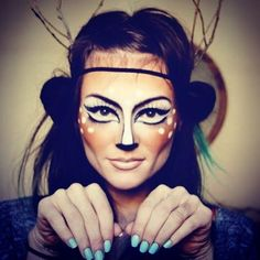 deer halloween makeup.. this might have to be this year's costume...